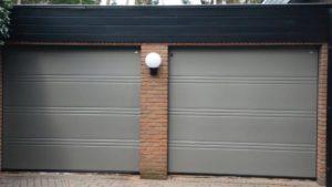 Hörmann garagedeur, D- profilering, Silkgrain in Ral 9007